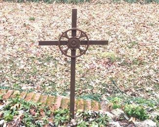 """$65 Metal Garden cross Italy  - 22""""L; 40""""H"""