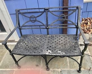 """$395 - Brown Jordan wrought iron bench with """"weave"""" seat. 42""""L; 17""""W; 32.5""""H"""