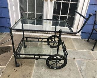"$295 - Brown Jordan cart with glass shelves.  40""L; 22.5""W; 37""H"