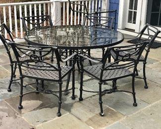 """Detail.  table: 28.5""""H; 54""""diam.  6 chairs, each: 21.5""""L; 17""""W: 32.5""""H"""