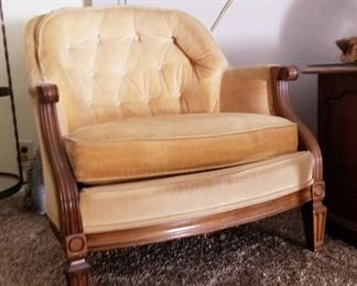 Gold velvet barrel lounging chair (2 available)