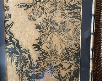 Gorgeous original Woodblock on raw silk