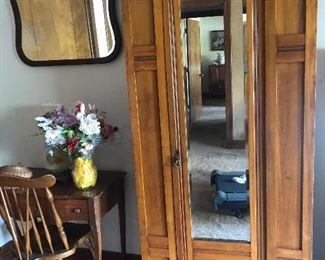 Beautiful Vintage Arts & Craft cabinet  Antique Windsor chair Vintage desk and mirror
