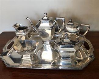 R Wallace sterling silver tea service