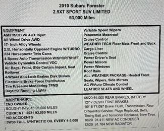 2010 Subaru Forester 2.5XT Sport Sub Limited - 93,000 Miles