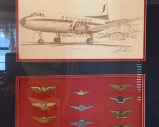 Southern Airlines Wings - full set framed