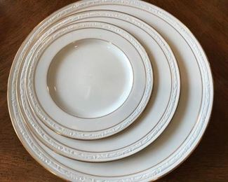 """Beautiful Noritake """"Lockleigh"""", 3 piece place setting for 12!  So lovely.  (has 12 coordinating Xmas salad plates)"""