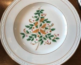 """12 Noritaki """"Lockleigh"""" christmas salad plates that coordinate with all white pattern 12 plates."""