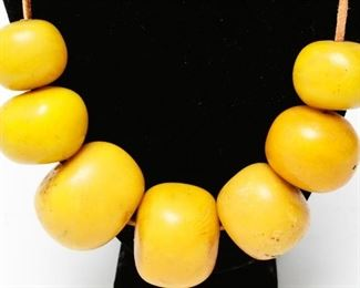 Faux Yellow Amber African Tribal Bead Necklace