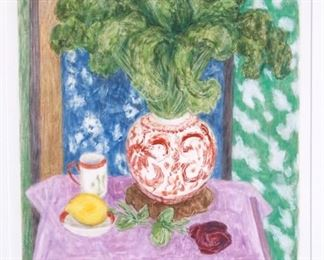 Janet Yake Still Life with Kale Monotype on Paper