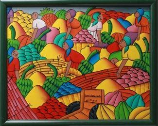 "Louis Rosemond ""Fruit Market"" Oil on Canvas"