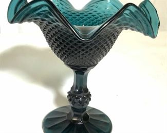 Teal Pedestaled Art Glass Compote Dish