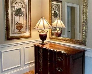 Harden 3 Drawer Serpentine Chest and Gorgeous Ornate Mirror
