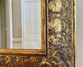 Detail on Mirror w/ leaf trim frame & beveled glass