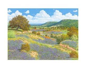 "Manuel Garza (b. 1940), Bluebonnet Riverbank, oil on canvas, 30 x 40"", frame: 41.5 x 51.25"""