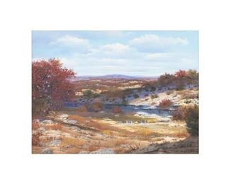 """William A. Slaughter (1923-2003), Autumn River, oil on canvas, 30 x 40"""", frame: 40.25 x 50.25"""""""