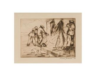"""Mary Bonner (1887-1935), Fishermen with Nets, 1924, etching, 5.25 x 6.75"""", frame: 11 x 13"""""""