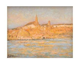 "José Arpa (1858-1952), Coastal Sunrise, oil on board, 8.5 x 10.5"", frame: 11 x 13"""