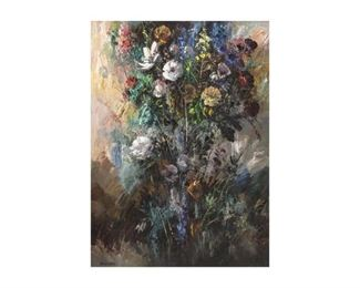 "Jose Vives-Atsara (1919-2004), ""Flowers"", 1968, oil on board, 30 x 40"", frame: 47.5 x 37.5"""