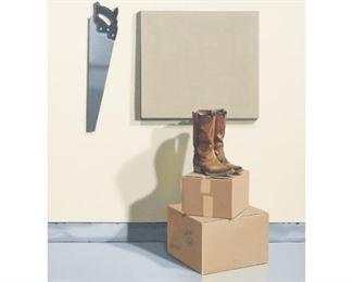 """Bill Wiman (b. 1940), """"Cardboard Cowboy"""", 1976, oil on canvas, 59 x 55"""", frame: 61 x 66.25"""""""