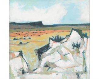 "Otis Dozier (1904-1987), ""Big Bend"", oil on canvas, 30 x 30"", frame: 31 x 31.5"""