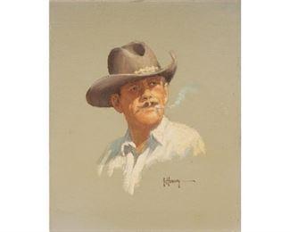 """G. Harvey (1933-2017), """"Hondo"""", 1968, oil on canvasboard, 8.25 x 6.75"""", frame: 10 x 8.75"""""""