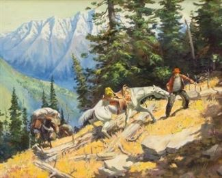 """George Phippen (1915-1966), """"Pack Train"""", 1948, oil on canvas, 24 x 32"""", frame: 29.5 x 37.5"""""""