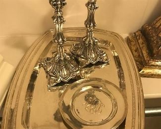 Sterling candlesticks, large heavy sterling trays and dishes