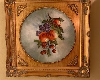 Item #6 Hand Painted Porcelain Charger in Ornate Gilt Frame $50