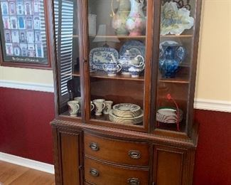 "Item #13  Mahogany China Cabinet  Measures approximately 39.5""W by 16"" D by 71"" H. $400"