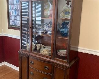 "Item #13Mahogany China Cabinet  Measures approximately 39.5""W by 16"" D by 71"" H. $400"