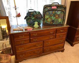 Maple dresser with mirror, vintage luggage