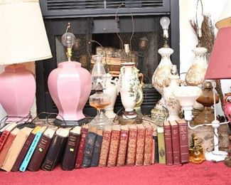 Vintage books and Lamps