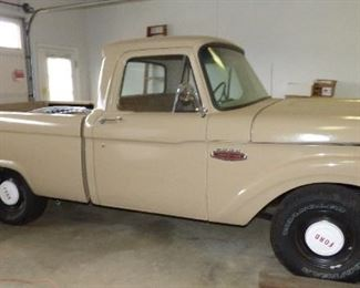 """1965 Ford F100.  Long Bed.  Partially Restored,  In  """"AS IS"""" Condition.  Some Assembly.  Grill, parts, etc. in bed of truck.  We know it needs a Clutch.  We will be accepting closed bids starting at $4500. until Saturday, Feb. 17 @ 3:00 PM.  See next 5 pictures"""