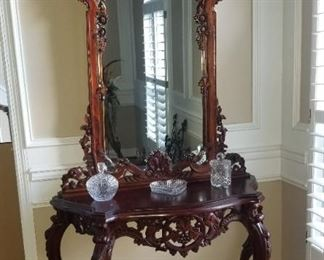 Beautiful Ornate Antique Foyer Table/Mirror
