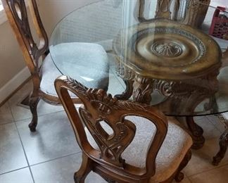 Gorgeous Carved Wood/Glass Dining Table, 4 Huge Chairs