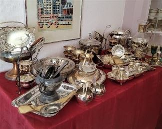 Variety of Silver plated serve and kitchenware