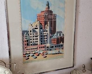Atlantic City Woodblock Layre Vintage 1977 Boardwalk Hotels
