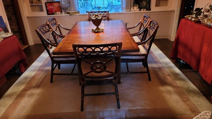 Beautiful Dining Table with McGuire Chairs