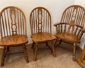 3 of 6 Oak chairs - 2 arm chairs and 4 side chairs