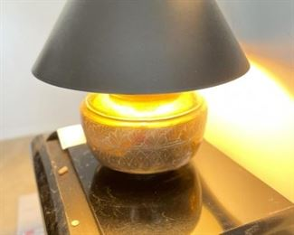 Pair of Gold Gilded Lamps with Custom Black Shades