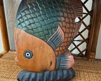 Large Carved Wooden Fish