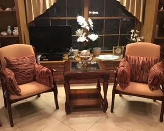 Matching Armchairs, Glass top End Table
