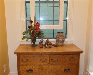 Great American Oak Cabinet and one of 3 Stained Glass Panels