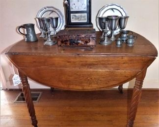 Antique Heart Pine Drop Side Table with Barley Twist Legs, Antique cathedral clock, Pewter pieces, Antique Spice Box