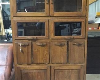 "Hardwood cabinet. 37.5"" wide x 75"" tall."