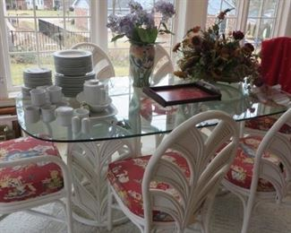 Rattan Table with Thick Glass Top and 6 Chairs, Flower Arrangements, Set of White China
