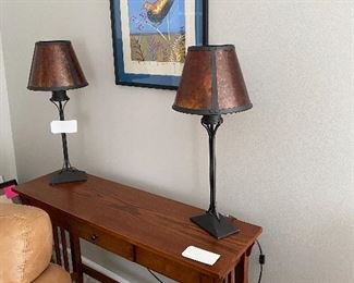 MISSION STYLE CONSOLE AND PAIR OF LAMPS