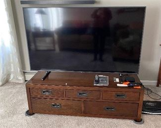 RESTORATION HARDWARE COFFE TABLE-DRAWERS ON BOTH SIDES-                                                   THIS TV NOT FOR SALE!