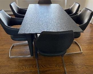MODERN STONE TOP PEDESTAL TABLE! MADE IN GERMANY! SIMPLE AND ELEGANT. RETAIL WAS $4500! OUR PRICE IS A FRACTION!